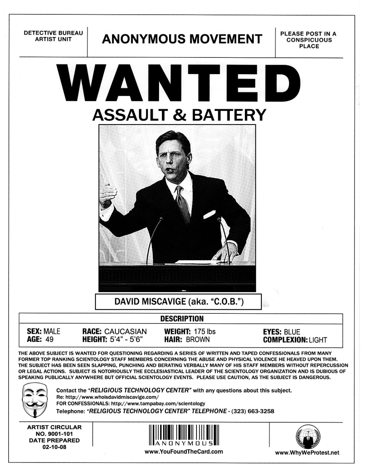 BUSTED Scientology Wanted Poster Series – Missing Person Poster Template