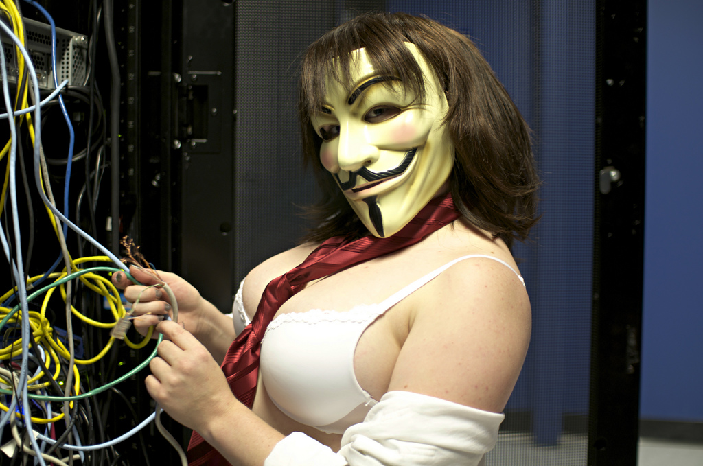 Hot girl in Guy Fawkes mask