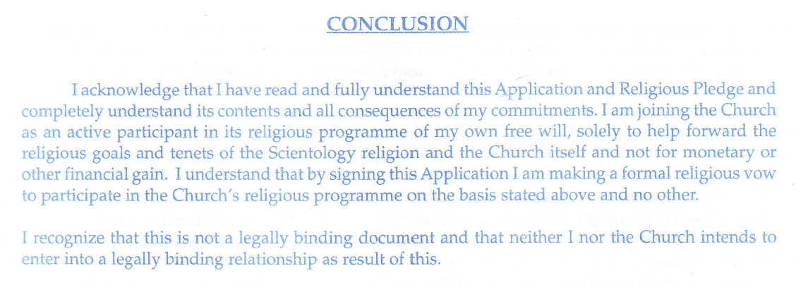 Current Scientology Staff Contract Is Not A Legally Binding - Legally binding document