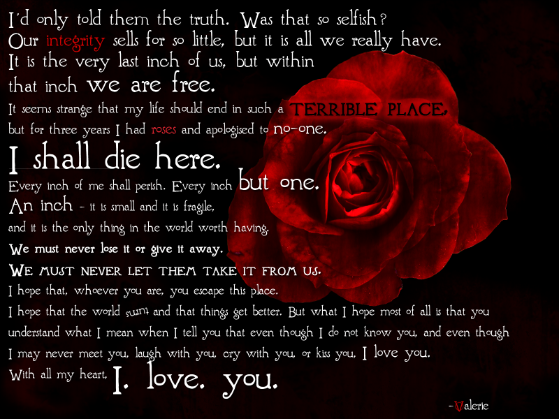 Valerie S Letter From V For Vendetta